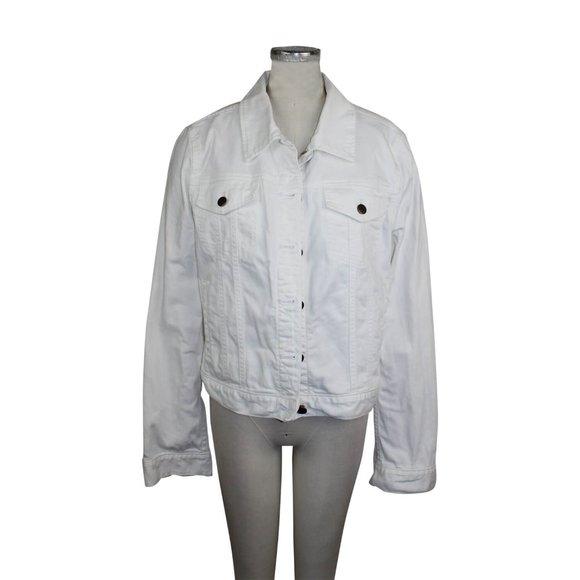 J. Crew EUC White Denim Jacket Sz Large